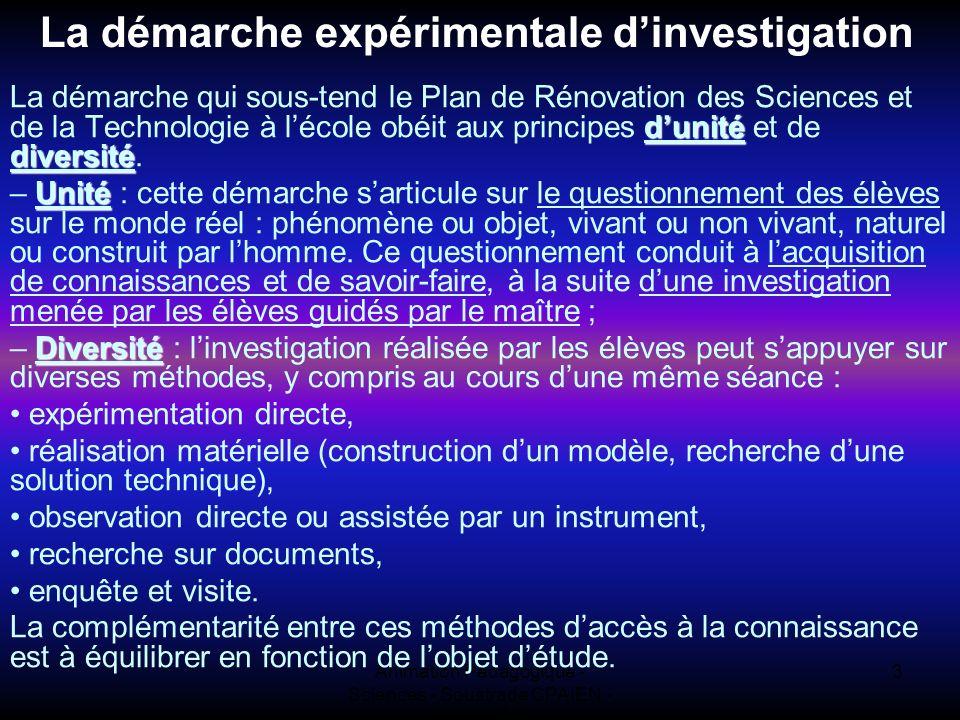Animation Pédagogique - Sciences - Soustrade CPAIEN - 31/1 et 7/2 3 La démarche expérimentale dinvestigation dunité diversité La démarche qui sous-ten