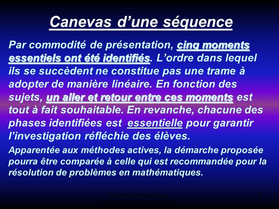 Animation Pédagogique - Sciences - Soustrade CPAIEN - 31/1 et 7/2 4 Canevas dune séquence cinq moments essentiels ont été identifiés un aller et retour entre ces moments Par commodité de présentation, cinq moments essentiels ont été identifiés.