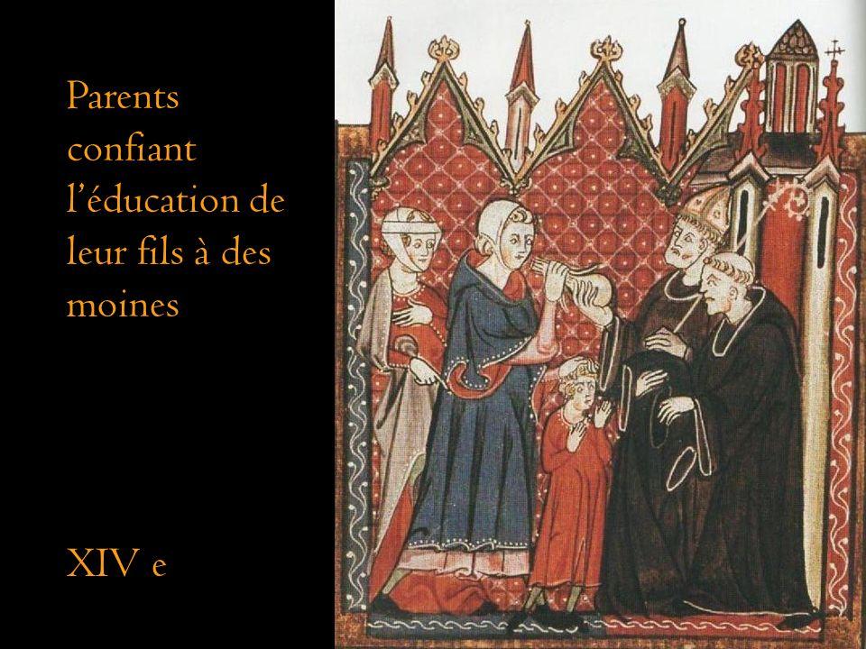 Parents confiant léducation de leur fils à des moines XIV e