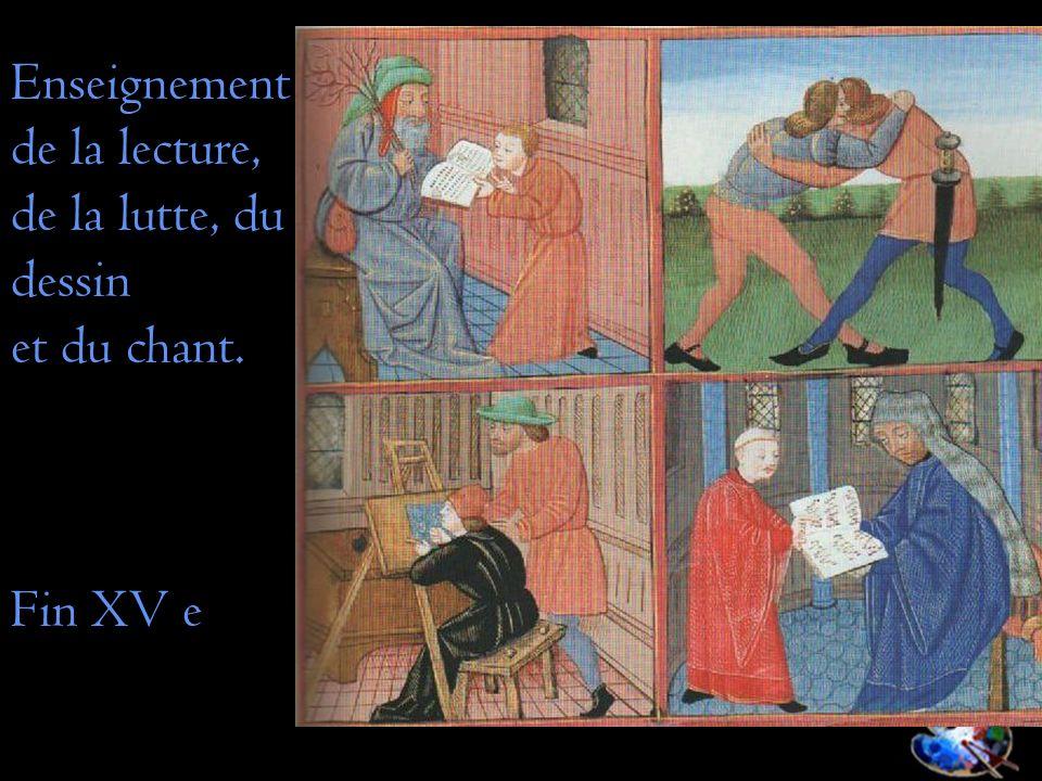 Enseignement de la lecture, de la lutte, du dessin et du chant. Fin XV e