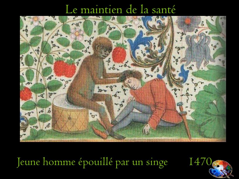 Le maintien de la santé Jeune homme épouillé par un singe 1470