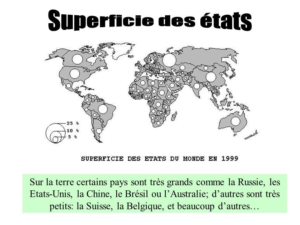 Sur la terre certains pays sont très grands comme la Russie, les Etats-Unis, la Chine, le Brésil ou lAustralie; dautres sont très petits: la Suisse, l