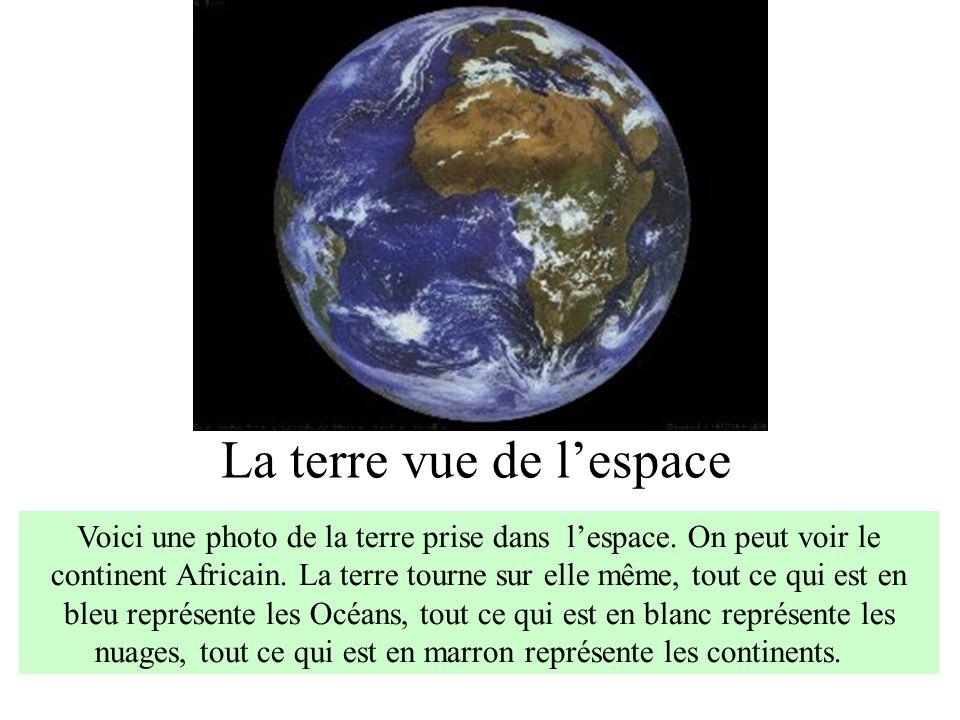 La terre vue de lespace Voici une photo de la terre prise dans lespace. On peut voir le continent Africain. La terre tourne sur elle même, tout ce qui