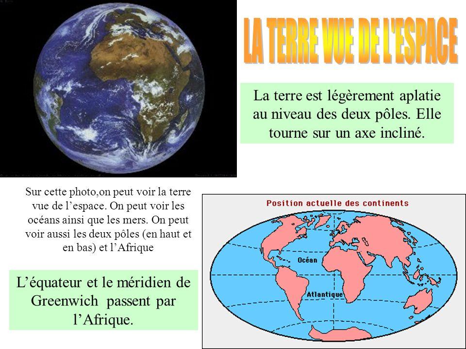 La terre est légèrement aplatie au niveau des deux pôles. Elle tourne sur un axe incliné. Léquateur et le méridien de Greenwich passent par lAfrique.