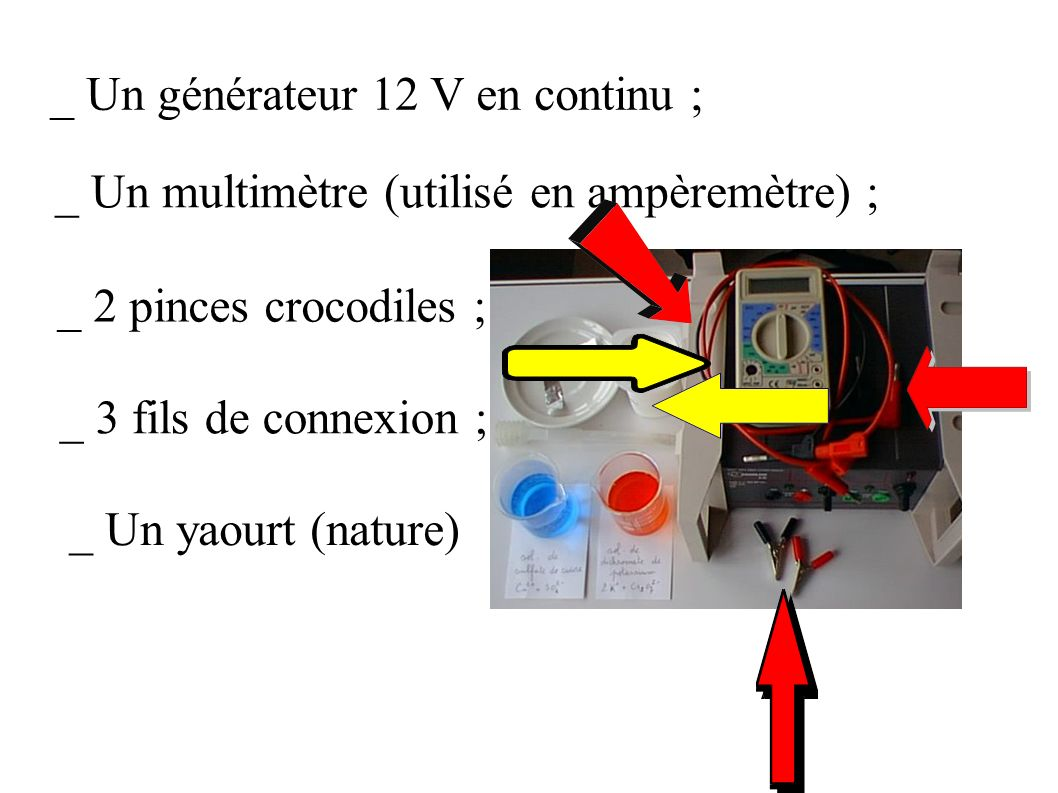 _ Un générateur 12 V en continu ; _ Un multimètre (utilisé en ampèremètre) ; _ 2 pinces crocodiles ; _ 3 fils de connexion ; _ Un yaourt (nature)