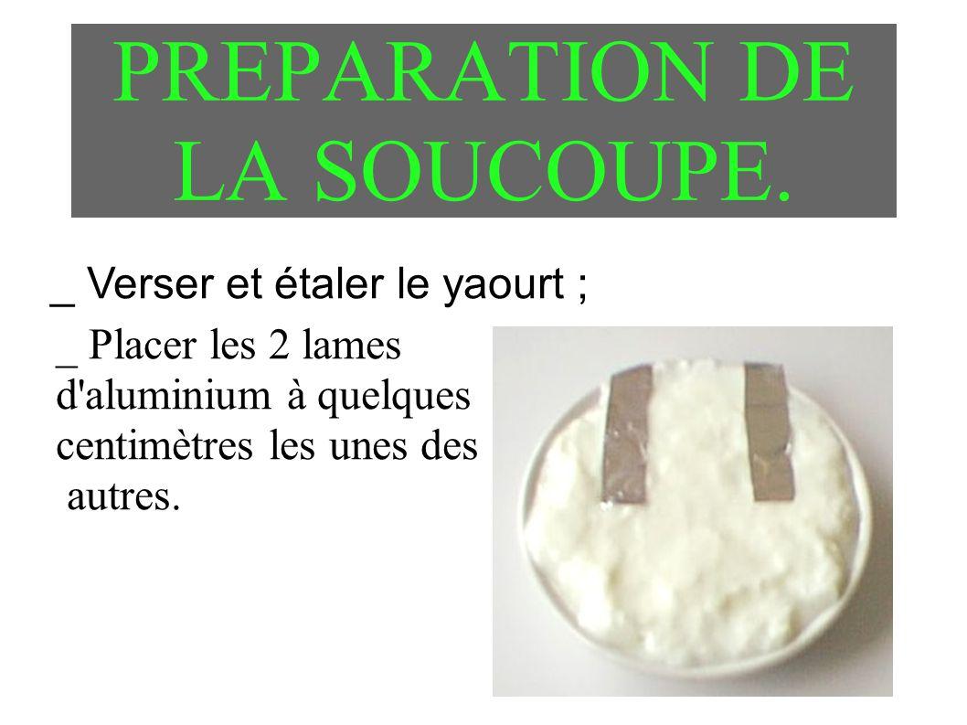 PREPARATION DE LA SOUCOUPE. _ Verser et étaler le yaourt ; _ Placer les 2 lames d'aluminium à quelques centimètres les unes des autres.