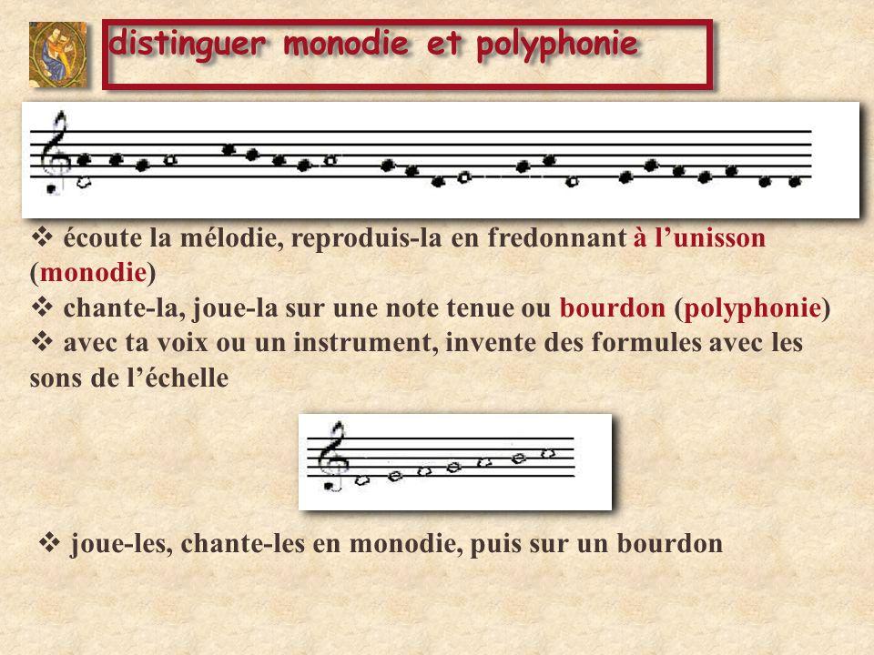 écoute la mélodie, reproduis-la en fredonnant à lunisson (monodie) chante-la, joue-la sur une note tenue ou bourdon (polyphonie) avec ta voix ou un instrument, invente des formules avec les sons de léchelle distinguer monodie et polyphonie joue-les, chante-les en monodie, puis sur un bourdon