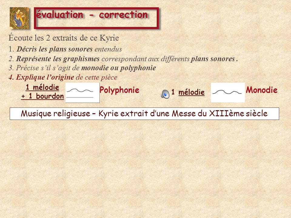 1 mélodie + 1 bourdon Monodie Polyphonie Musique religieuse – Kyrie extrait dune Messe du XIIIème siècle évaluation - correction Éc oute les 2 extraits de ce Kyrie 1.