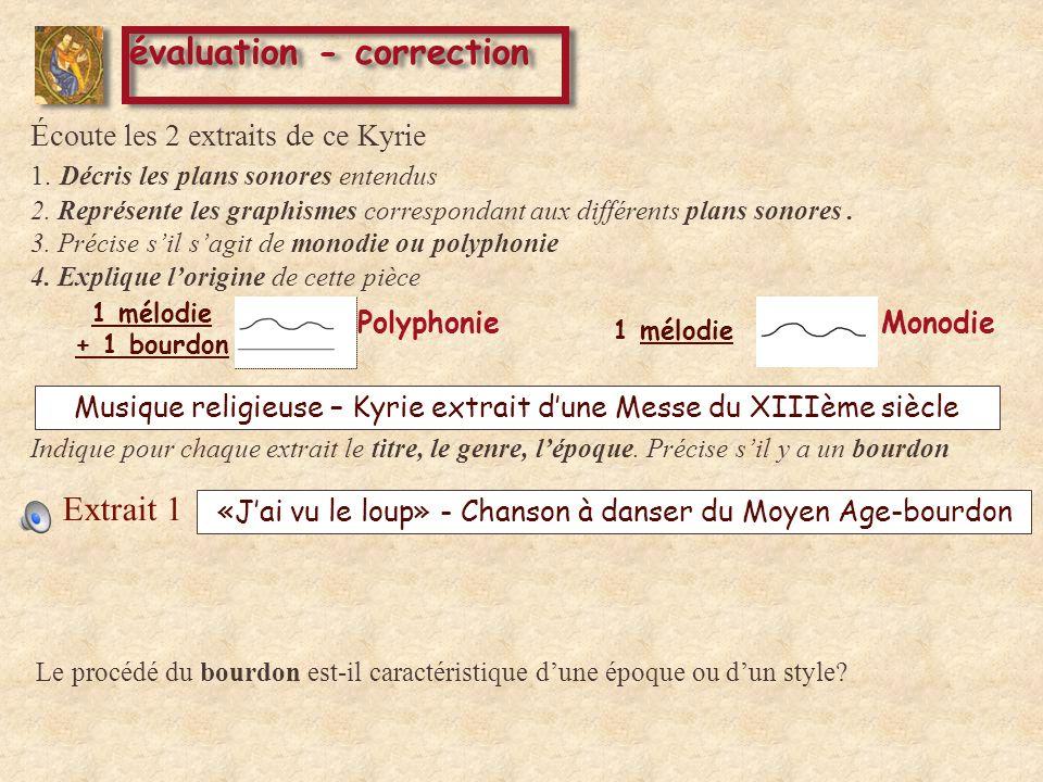 Musique religieuse – Kyrie extrait dune Messe du XIIIème siècle évaluation - correction Extrait 1 Éc oute les 2 extraits de ce Kyrie 1.