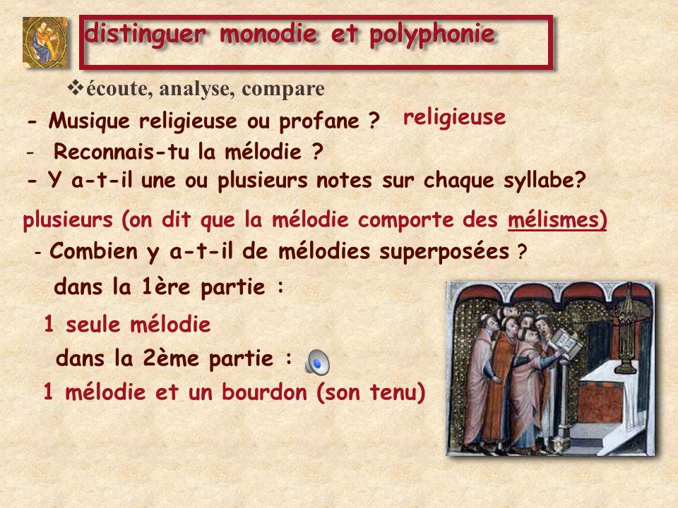 dans la 2ème partie : 1 mélodie et un bourdon (son tenu) distinguer monodie et polyphonie - Combien y a-t-il de mélodies superposées .