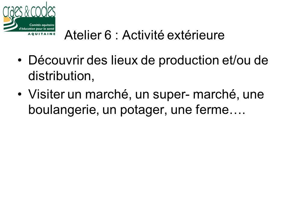 Atelier 6 : Activité extérieure Découvrir des lieux de production et/ou de distribution, Visiter un marché, un super- marché, une boulangerie, un pota