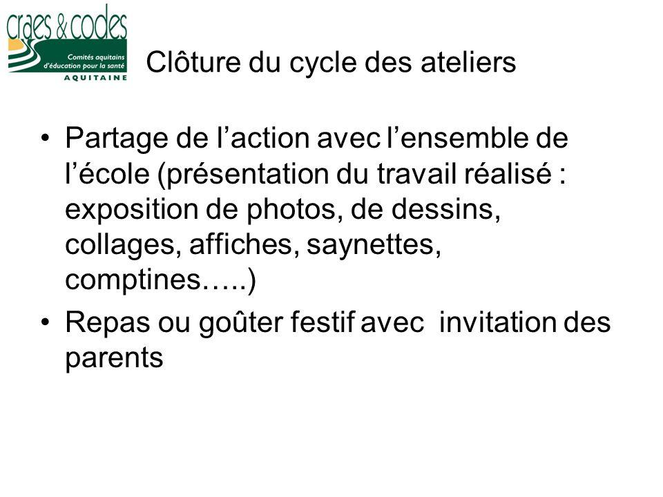 Clôture du cycle des ateliers Partage de laction avec lensemble de lécole (présentation du travail réalisé : exposition de photos, de dessins, collage