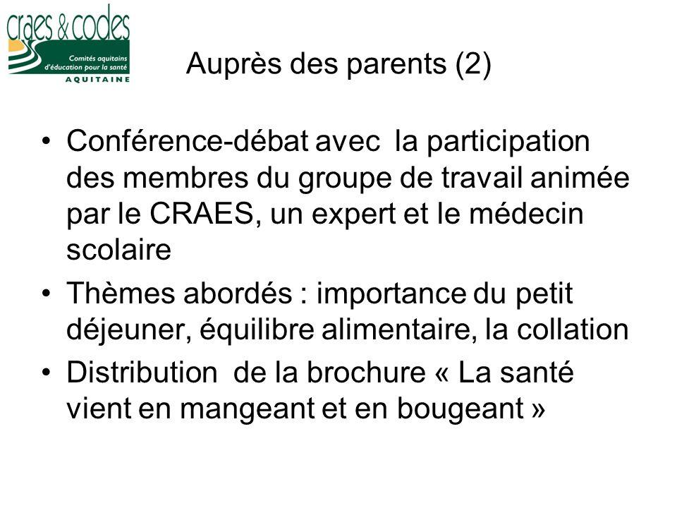 Auprès des parents (2) Conférence-débat avec la participation des membres du groupe de travail animée par le CRAES, un expert et le médecin scolaire T