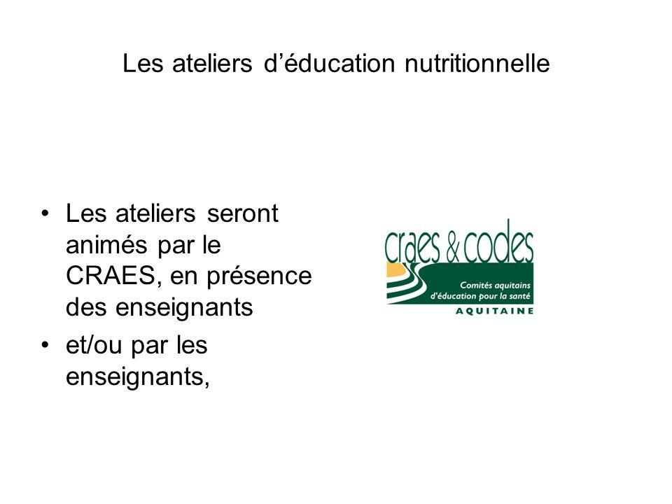 Les ateliers déducation nutritionnelle Les ateliers seront animés par le CRAES, en présence des enseignants et/ou par les enseignants,