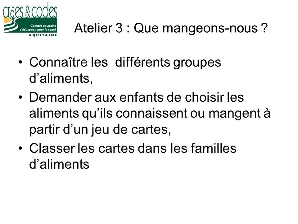 Atelier 3 : Que mangeons-nous ? Connaître les différents groupes daliments, Demander aux enfants de choisir les aliments quils connaissent ou mangent