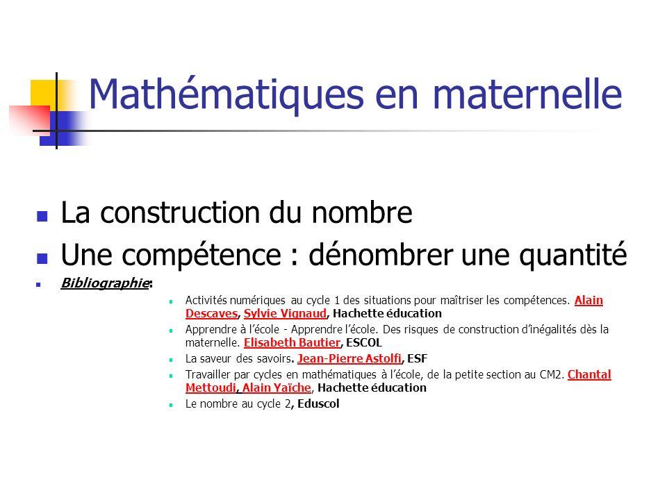 Mathématiques en maternelle La construction du nombre Une compétence : dénombrer une quantité Bibliographie: Activités numériques au cycle 1 des situa