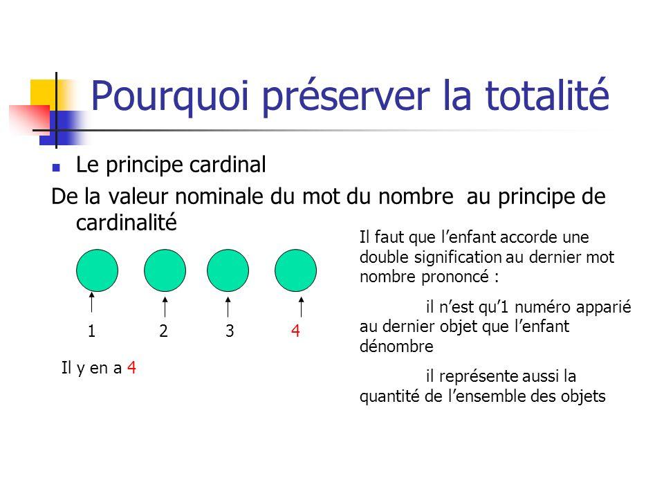 Le principe cardinal De la valeur nominale du mot du nombre au principe de cardinalité 1 2 3 4 Il faut que lenfant accorde une double signification au
