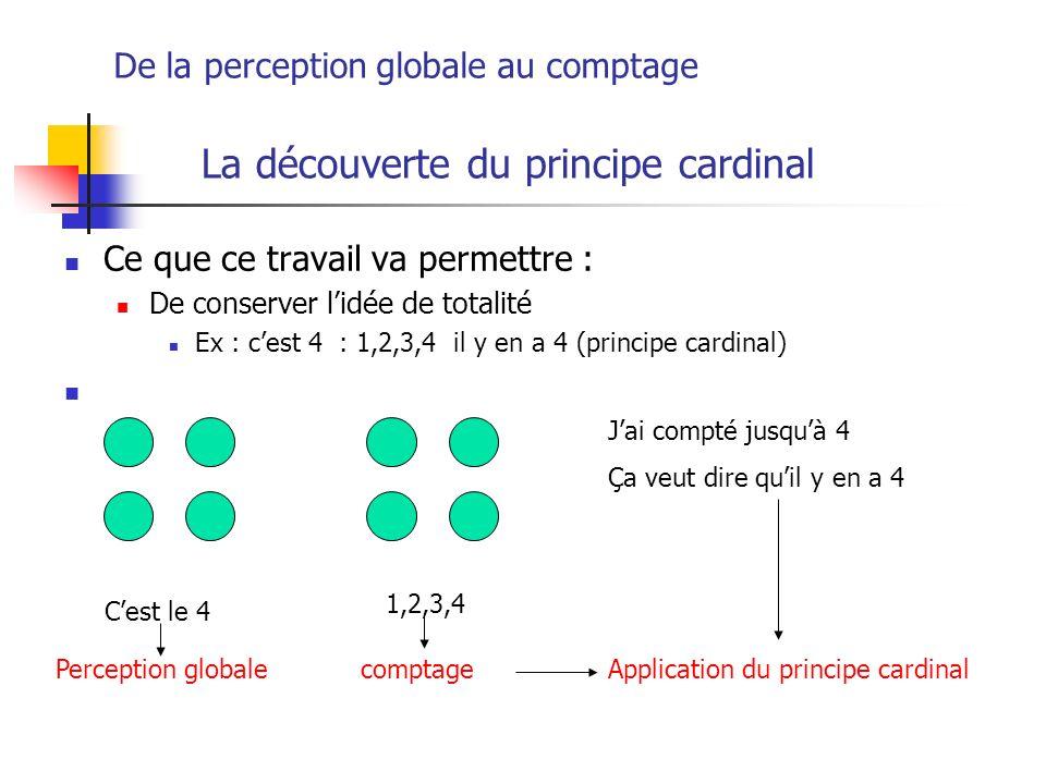 La découverte du principe cardinal Ce que ce travail va permettre : De conserver lidée de totalité Ex : cest 4 : 1,2,3,4 il y en a 4 (principe cardina