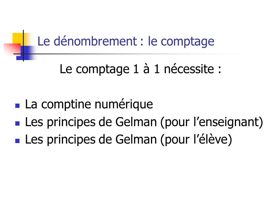 Le dénombrement : le comptage Le comptage 1 à 1 nécessite : La comptine numérique Les principes de Gelman (pour lenseignant) Les principes de Gelman (