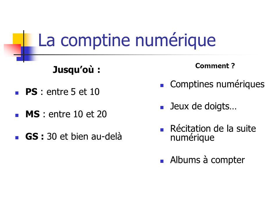 La comptine numérique Jusquoù : PS : entre 5 et 10 MS : entre 10 et 20 GS : 30 et bien au-delà Comment ? Comptines numériques Jeux de doigts… Récitati