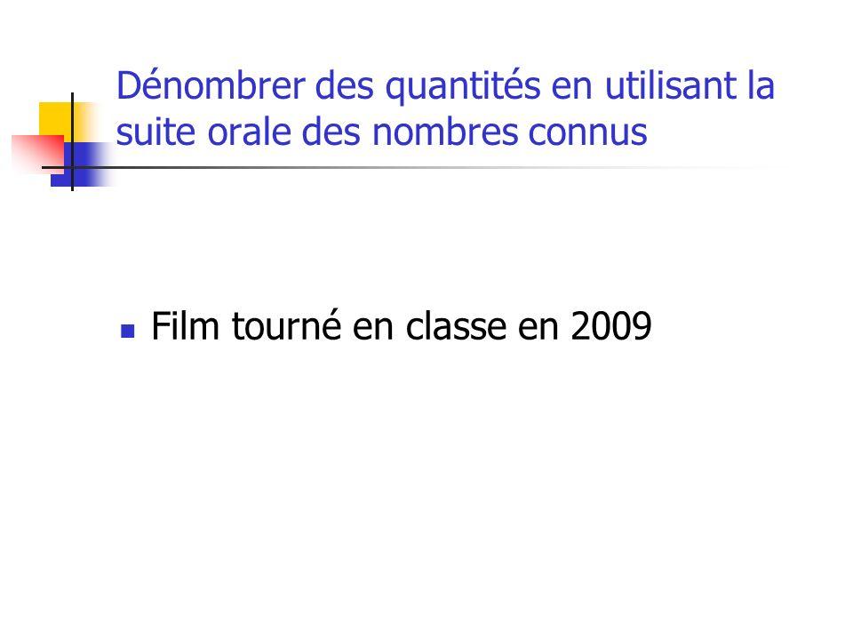 Dénombrer des quantités en utilisant la suite orale des nombres connus Film tourné en classe en 2009