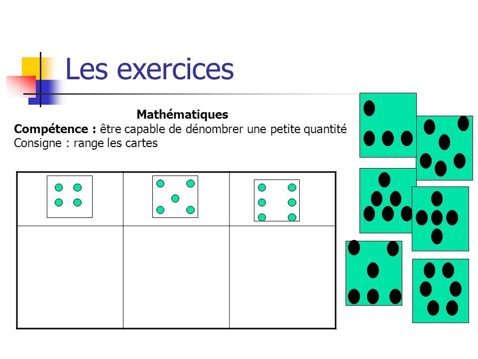 Mathématiques Compétence : être capable de dénombrer une petite quantité Consigne : range les cartes Les exercices