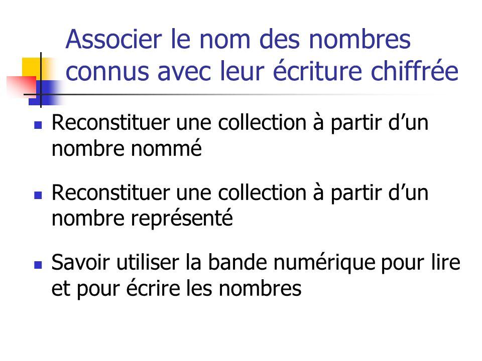 Associer le nom des nombres connus avec leur écriture chiffrée Reconstituer une collection à partir dun nombre nommé Reconstituer une collection à par