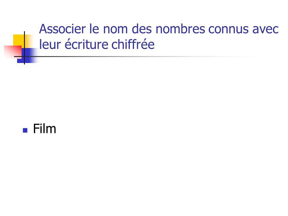 Associer le nom des nombres connus avec leur écriture chiffrée Film
