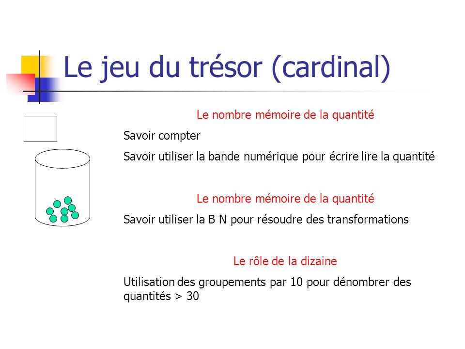 Le jeu du trésor (cardinal) Le nombre mémoire de la quantité Savoir compter Savoir utiliser la bande numérique pour écrire lire la quantité Le nombre