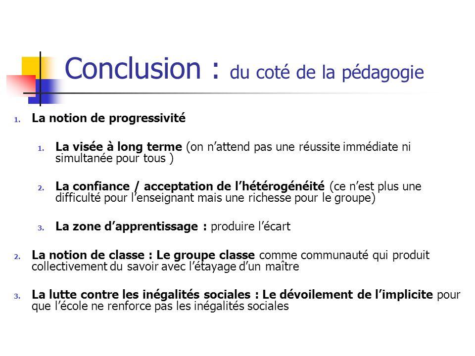 Conclusion : du coté de la pédagogie 1. La notion de progressivité 1. La visée à long terme (on nattend pas une réussite immédiate ni simultanée pour