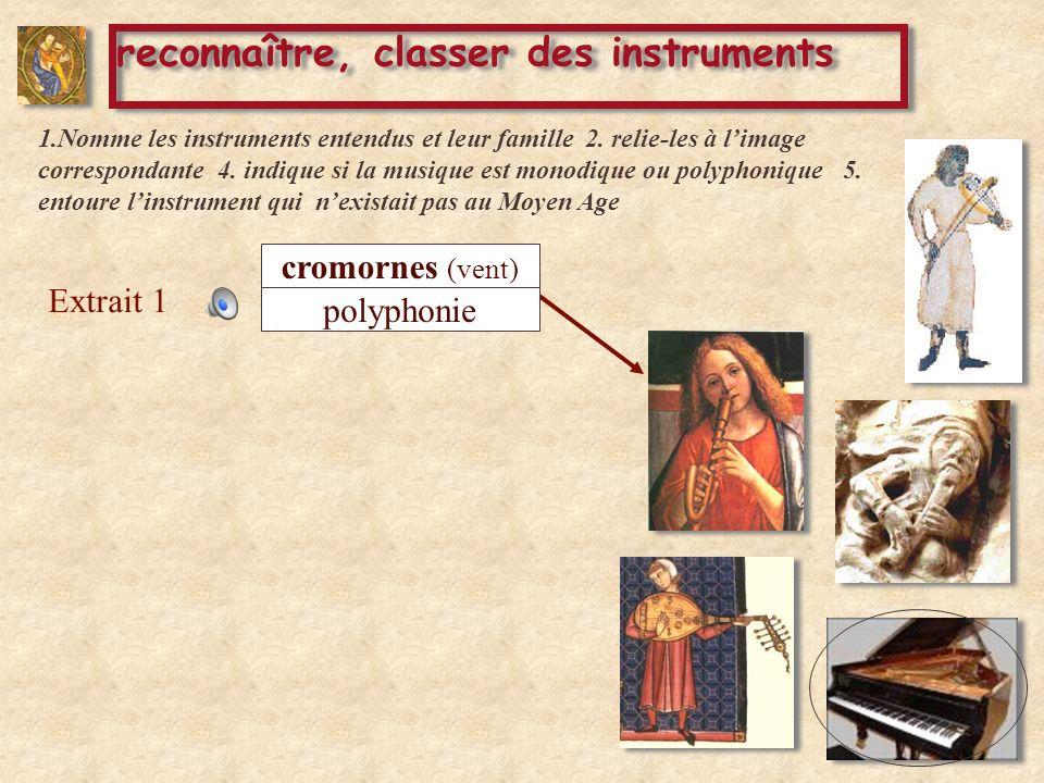 Extrait 1 reconnaître, classer des instruments cromornes (vent) polyphonie 1.Nomme les instruments entendus et leur famille 2. relie-les à limage corr