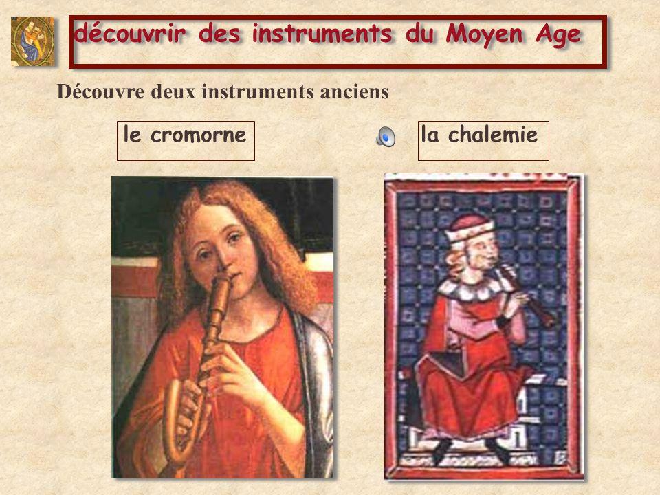 comparer des instruments le cromornele hautbois Le cromorne et la chalemie sont les ancêtres de certains instruments modernes que tu connais déjà.