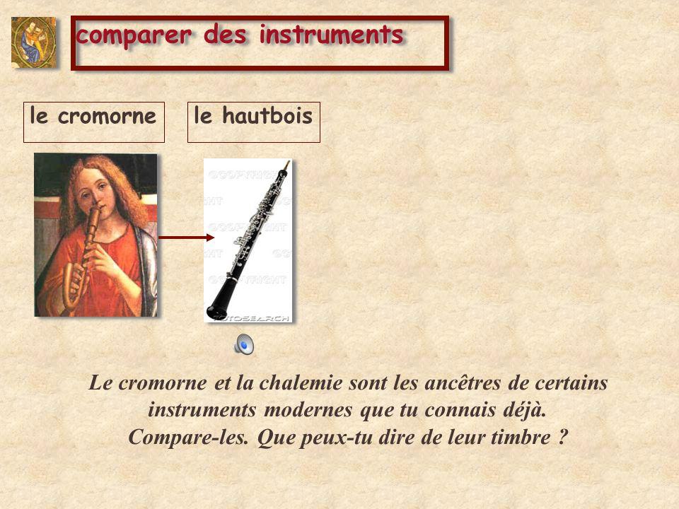 le cromornele hautbois Le cromorne et la chalemie sont les ancêtres de certains instruments modernes que tu connais déjà. Compare-les. Que peux-tu dir