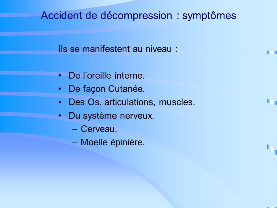 Accident de décompression ADD : causes À la remontée des bulles se forment dans le corps.