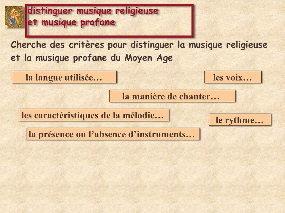 Cherche des critères pour distinguer la musique religieuse et la musique profane du Moyen Age la langue utilisée… la manière de chanter… le rythme… la présence ou labsence dinstruments… les caractéristiques de la mélodie… les voix… distinguer musique religieuse et musique profane distinguer musique religieuse et musique profane