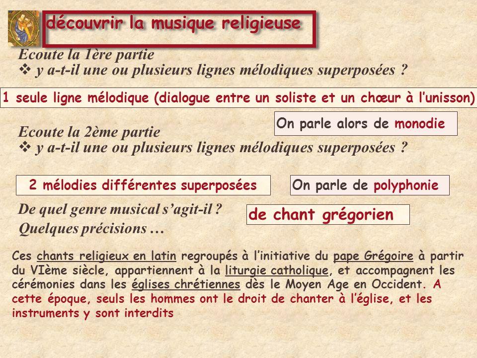 Ces chants religieux en latin regroupés à linitiative du pape Grégoire à partir du VIème siècle, appartiennent à la liturgie catholique, et accompagnent les cérémonies dans les églises chrétiennes dès le Moyen Age en Occident.