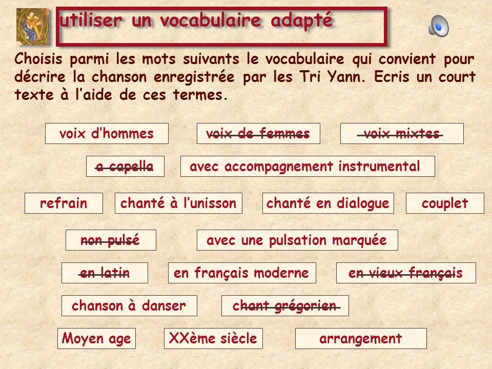 Choisis parmi les mots suivants le vocabulaire qui convient pour décrire la chanson enregistrée par les Tri Yann. Ecris un court texte à laide de ces