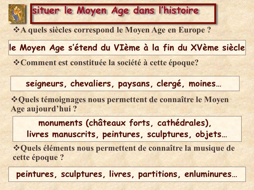 Comment est constituée la société à cette époque? situer le Moyen Age dans lhistoire A quels siècles correspond le Moyen Age en Europe ? Quels témoign