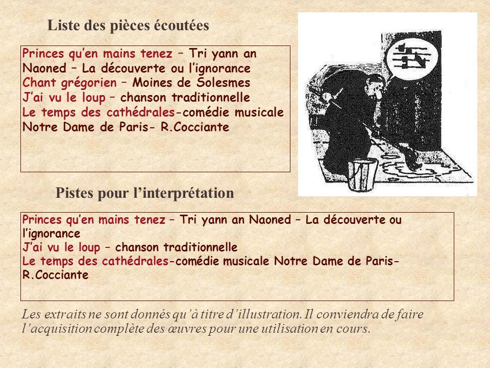 Liste des pièces écoutées Princes quen mains tenez – Tri yann an Naoned – La découverte ou lignorance Chant grégorien – Moines de Solesmes Jai vu le l