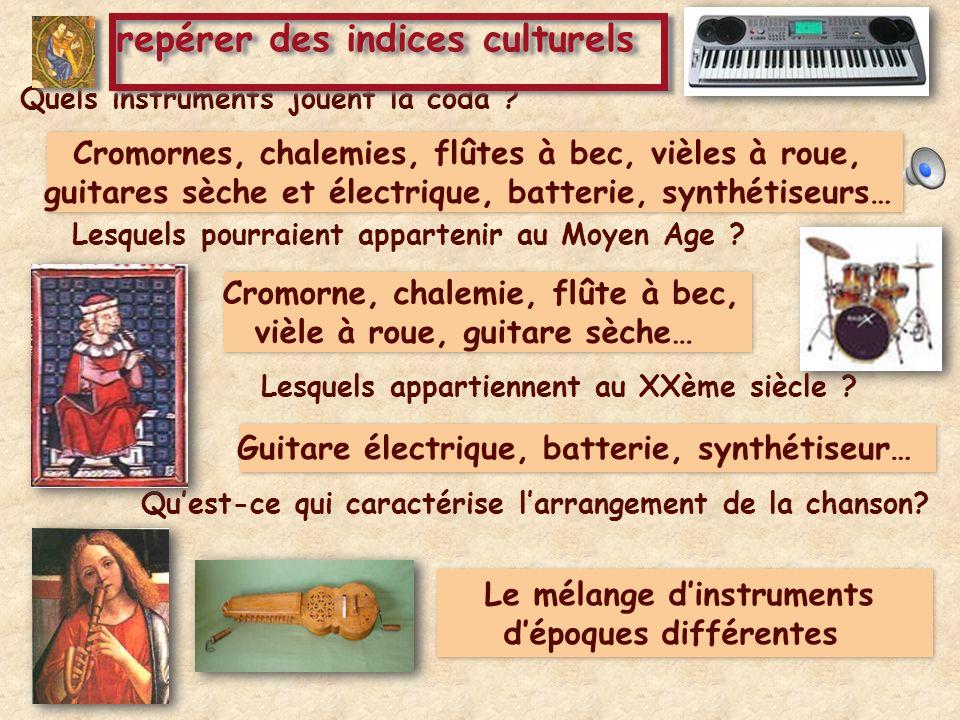 Quels instruments jouent la coda ? Cromornes, chalemies, flûtes à bec, vièles à roue, guitares sèche et électrique, batterie, synthétiseurs… Lesquels