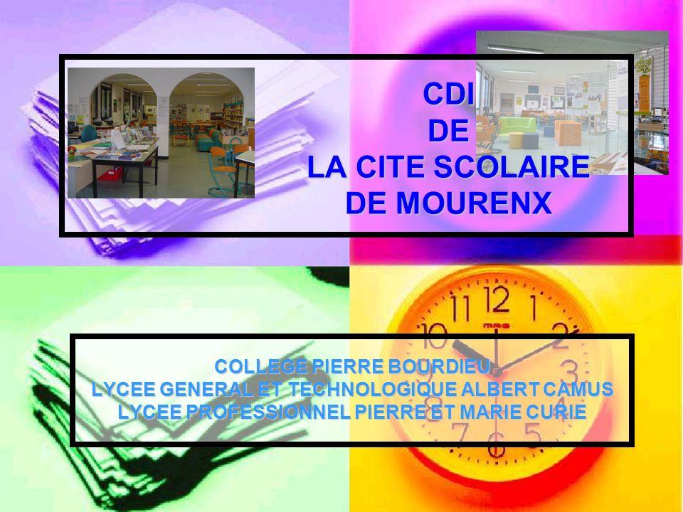 CDI DE LA CITE SCOLAIRE DE MOURENX COLLEGE PIERRE BOURDIEU LYCEE GENERAL ET TECHNOLOGIQUE ALBERT CAMUS LYCEE PROFESSIONNEL PIERRE ET MARIE CURIE