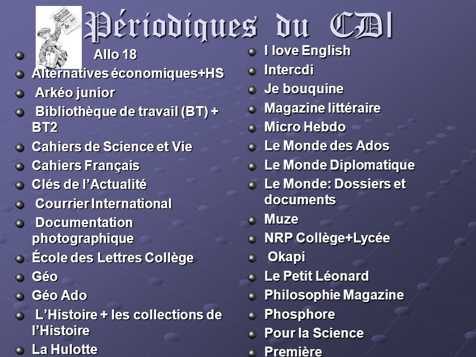 Périodiques du CD I Allo 18 Allo 18 Alternatives économiques+HS Arkéo junior Arkéo junior Bibliothèque de travail (BT) + BT2 Bibliothèque de travail (