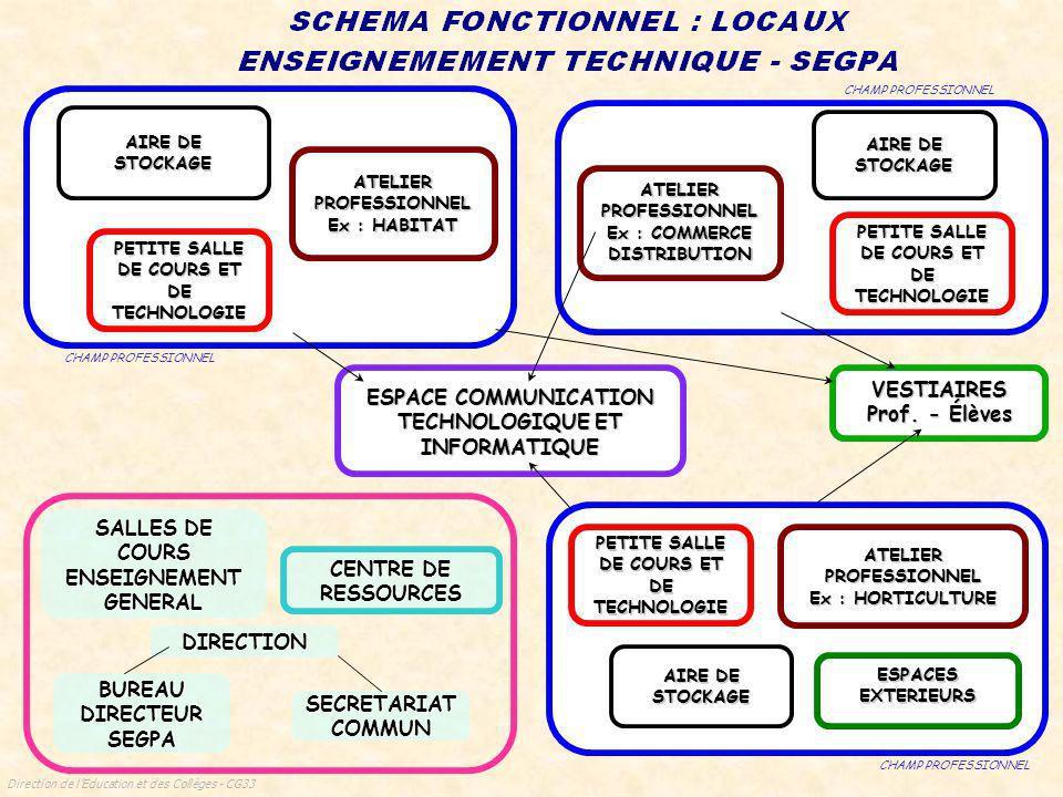 Direction de lEducation et des Collèges - CG33 SALLES DE COURS ENSEIGNEMENT GENERAL DIRECTION BUREAU DIRECTEUR SEGPA SECRETARIAT COMMUN CENTRE DE RESSOURCES ESPACE COMMUNICATION TECHNOLOGIQUE ET INFORMATIQUE VESTIAIRES Prof.
