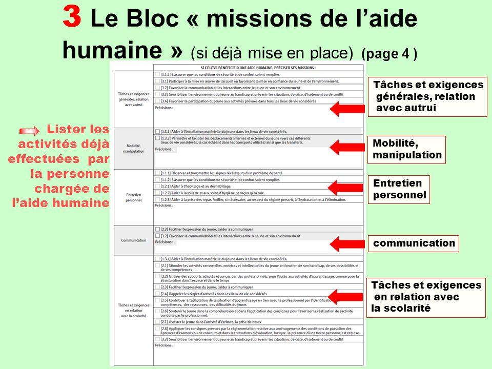 3 Le Bloc « missions de laide humaine » (Gevasco réexamen) (page 5) Expliciter les effets observés par la mise en œuvre de laide humaine Présenter lévolution du rôle attendu de laide humaine