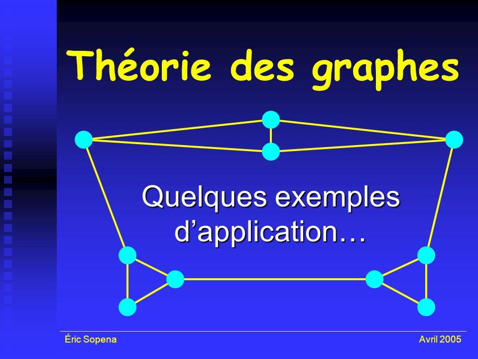 Éric SopenaAvril 2005 Théorie des graphes Quelques exemples dapplication…