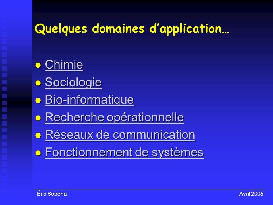 Éric SopenaAvril 2005 Quelques domaines dapplication… Chimie Chimie Chimie Sociologie Sociologie Sociologie Bio-informatique Bio-informatique Bio-info