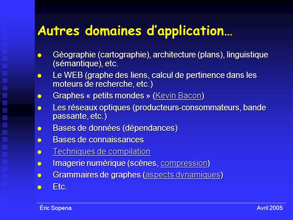 Éric SopenaAvril 2005 Autres domaines dapplication… Géographie (cartographie), architecture (plans), linguistique (sémantique), etc. Géographie (carto