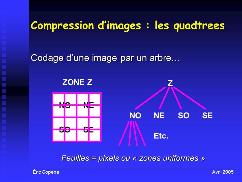 Éric SopenaAvril 2005 Compression dimages : les quadtrees Codage dune image par un arbre… ZONE Z NO SOSE NE NOSOSENE Z Etc. Feuilles = pixels ou « zon