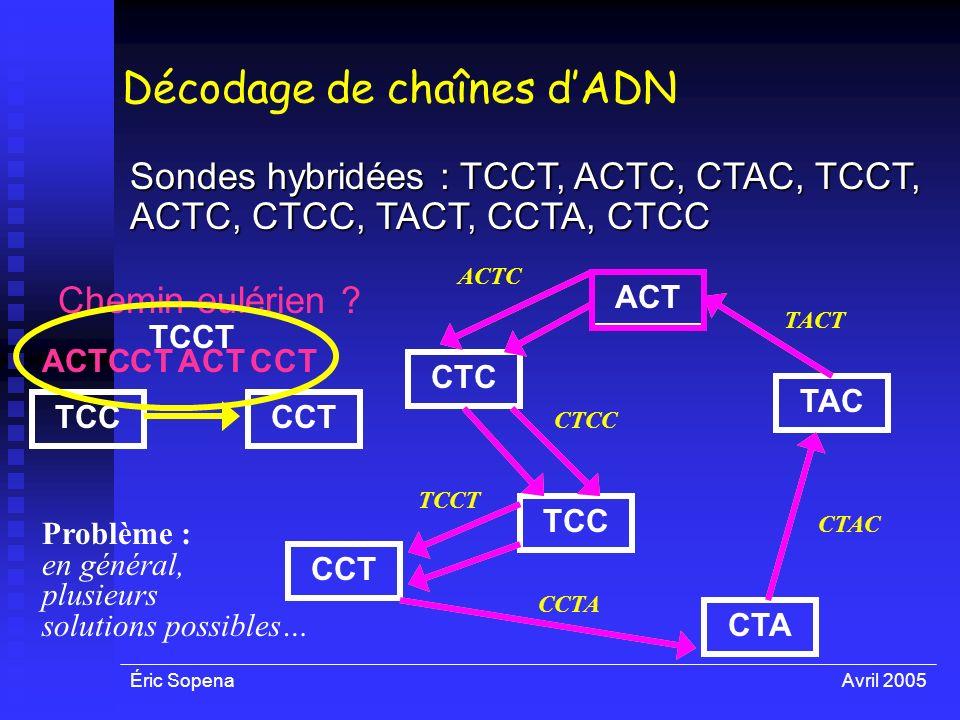 Éric SopenaAvril 2005 ACT CTA TAC CCT TCC CTC TACT CTCC TCCT CCTA ACTC CTAC Décodage de chaînes dADN Sondes hybridées : TCCT, ACTC, CTAC, TCCT, ACTC,