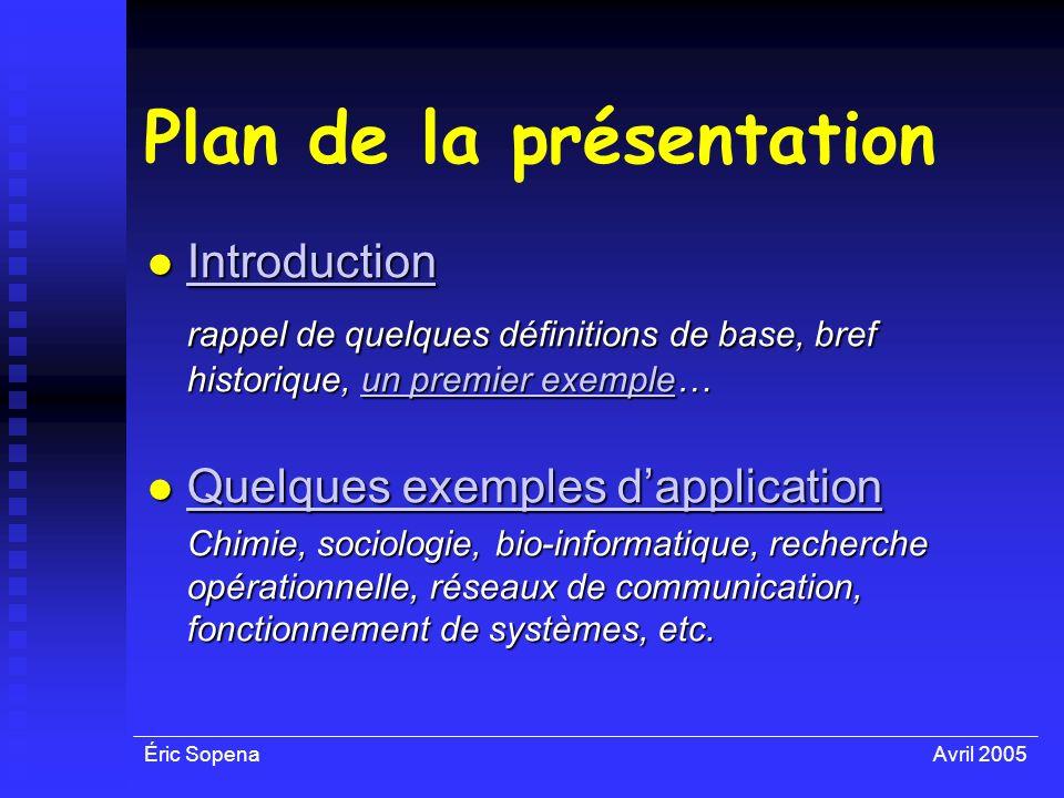 Éric SopenaAvril 2005 Plan de la présentation Introduction Introduction Introduction rappel de quelques définitions de base, bref historique, un premi